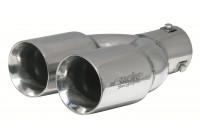Simoni Racing Uitlaatsierstuk Dubbel Rond RVS - Diameter 82x71mm - Lengte 230mm - Montage 58mm