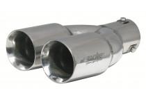 Simoni Racing Uitlaatsierstuk Dubbel Ovaal RVS - Diameter 82x71mm - Lengte 230mm - Montage 58mm