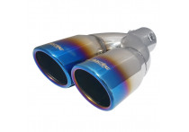 Simoni Racing Uitlaatsierstuk Dubbel Rond/Schuin RVS/Titanium - Ø76xL230mm - Montage -37->58mm