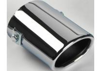 Uitlaatsierstuk Staal/Chroom - ovaal 80x60mm - lengte 105mm - ->55mm aansluiting