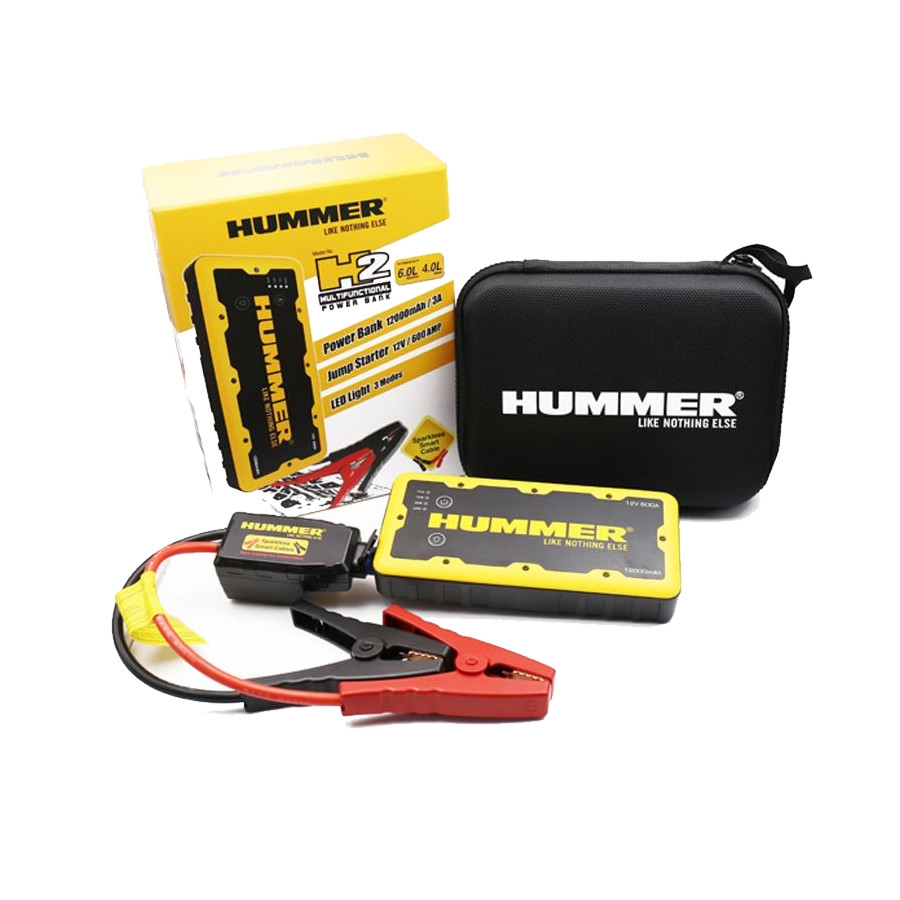 Hummer H2 Mini Jumpstarter Laddare 12.000mAH + LED lampa