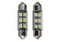 6Q LED/SMD Festoon Lampen Wit 37x10mm Set a 2 stuks