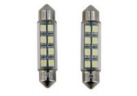 8Q LED/SMD Festoon Lampen Wit 42x10mm Set a 2 stuks