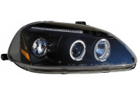 Set Koplampen Honda Civic 1996-1999 - Zwart - incl. Angel-Eyes