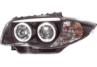 Set Koplampen BMW 1-Serie E81/E87 2004-2011 - Zwart - incl. Angel-Eyes