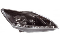 Set Koplampen incl. DRL Ford Focus II Facelift 2008-2011 - Zwart - incl. Motor