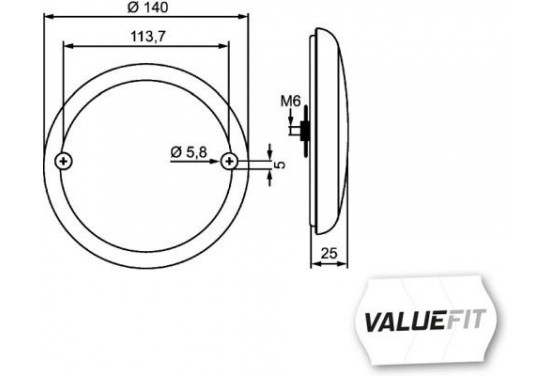Mist-achteruitrijl.LED 10-30V ADR 2NR 357 026-151 Hella