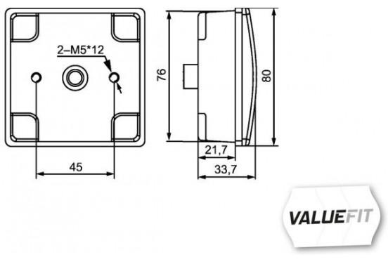 Mistachterl.LED 12V 80x80mm 2NE 357 029-041 Hella