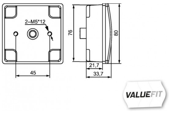 Mistachterl.LED 24V 80x80mm 2NE 357 029-141 Hella